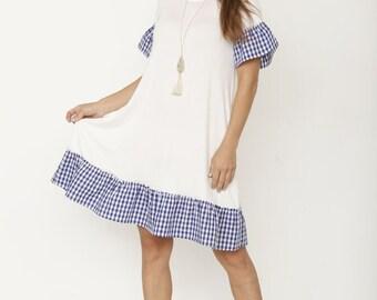 Gingham Ruffle Swing Dress