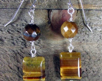 Tigers Eye Earrings, Sterling Silver & Tiger Eye Dangle, Brown Earring, Golden Tigers Eye Jewelry