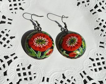 Red poppies earrings tribal Gift idea|for|her nature boho earrings red wedding Red Black Dangling earrings holiday earrings Handmade jewelry