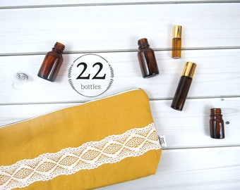 Large Essential Oil Bag, Essential Oil Case  - CHARLOTTE in Honey - 22 bottles - linen and lace zipper pouch essential oil storage oils