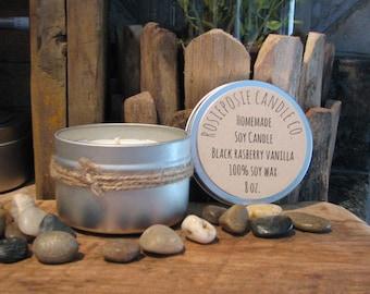 Black Rasberry Vanilla 8 oz. Soy Wax Candle Travel Tin Handmade