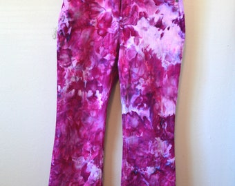 Ice dye ultraviolet recycled jeans