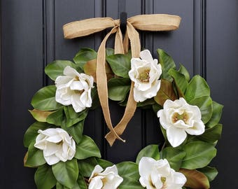 Faux Magnolia Leaf Wreath, Fixer Upper Magnolia Wreath, Magnolia Leaf Wreath, White Magnolia Wreath, Realistic Magnolia Wreath
