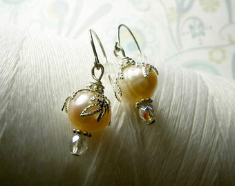 HALF PRICE - Jump In the Water is Fine - peach pearl earrings / peach earrings / freshwater pearl earrings / leaf earrings / pearl earring