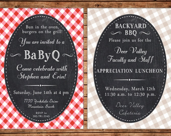 Invitation Chalkboard Gingham BBQ Baby Q Wedding Shower Birthday Party - Can personalize colors /wording - Printable File or Printed Cards