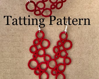 "PDF Tatting Pattern - ""Reich"" Earrings and Necklace"