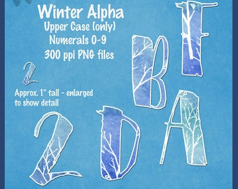 Digital Winter Blues Alpha, Uppercase and 0-9 only, clip art, alphabet, 1 inch tall-DeeDoosDigitalScrap-Instant Download-PNG & PDF included