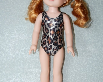 "Swimsuit for 14.5"" Wellie Wishers or Melissa & Doug Doll Clothes sparkle leopard tkct1154 READY TO SHIP"