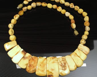 Vintage Egg Yolk Beads All Natural Baltic Amber Necklace