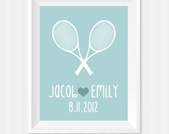 Custom Wedding Gift, Tennis Wall Art, Engagement Gift, Date Print, Unique Gift, Personalized Anniversary Gift, Wedding Present, Couples Gift