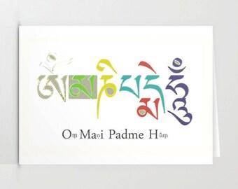 Greeting card, blank card, Buddhist Chant, Alternative xmas card, artist card, handmade greeting card, custom card, friends card