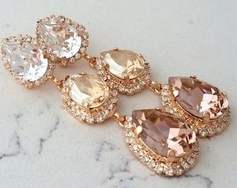 Blush earrings,Blush bridal earrings,Long chandelier earrings,Champagne blush earrings,blush bridesmaid earring,Dangle Swarovski earrings