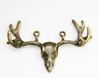 6 pcs of deer bone charm pendant-38x55mm-1250-antique bronze