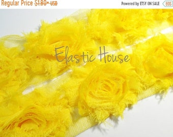 "SALE 30% OFF 2.5"" Yard Shabby Rose Trim- Yellow Color- Yellow Chiffon Trim - Yellow Shabby Rose Trim - Yellow Flowers - Hair Accessories Sup"