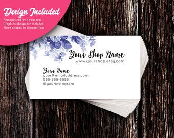 Business Cards - Custom Business Cards - Personalized Business Cards - Mommy Calling Cards - Royal Blue Floral
