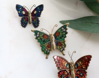 Set of 3 Butterfly Brooches - Glitter Enamel Brooches