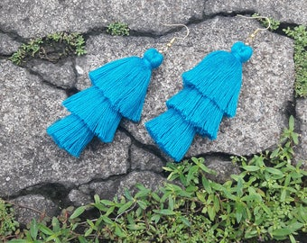 Blue tassel earrings,Three layered tassel earrings,Bohemian earrings.