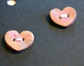 Handmade ceramic buttons -  pair of small pink heart handpainted pottery buttons C117