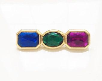 80s 90s vintage gold tone metal jewel tone glass rhinestone bar brooch pin//blue green purple