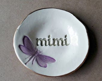 Ceramic Jewelry dish Ring Holder Ring Bowl Ring Dish Trinket Dish edged in gold MIMI  Mothers day
