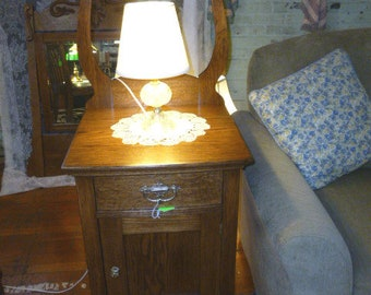 """Antique Night stand Oak end table 1900's 19"""" wide refinished vintage"""