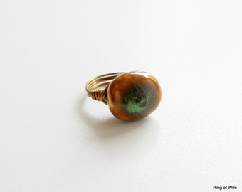 Brown Porcelain Bead Ring, Green Bead Ring, Antique Brass Plated Wire Ring, Wire Wrapped Ring, Chunky Bead Ring, Statement Ring