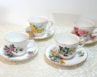 Mix And Match English Teacup And Saucer Collection, Royal Grafton and Queen Anne