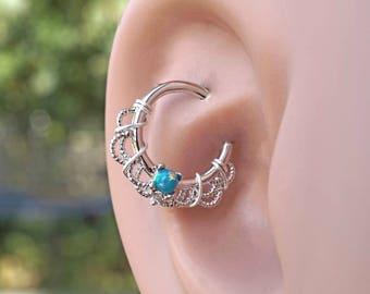 16 Gauge Green Opal Silver Daith Rook Hoop Ring Daith Septum Hoop
