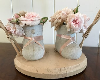 Antique Baby Shoes Bisque Baby Shower Its A Girl Pink Edwardian Vintage Shabby Chic Baby Shower