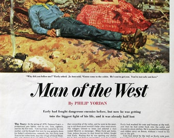 1955 Man of the West - Edwin Dawes Art - Gunfighter Cowboy & Red Haired Woman - Vintage 1950s Magazine Story Art