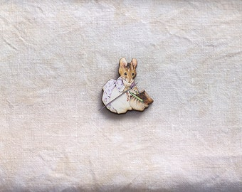 Hunca Munca Mouse Needle Minder Beatrix Potter quilting holder Peter Rabbit embroidery tool mouse Easter Mother's Day