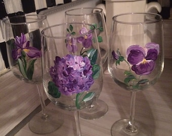 Hand Painted Wine Glasses/ Floral