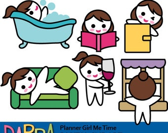 Planner girl me time clipart commercial use / bubble bath tub, lazy day, read, drink wine, look outside the window / brunette brown hair
