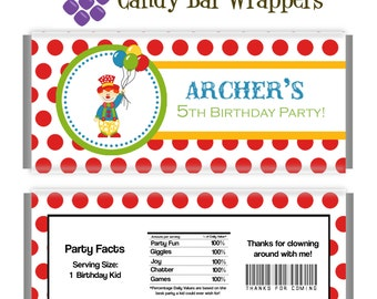 Clown Candy Wrapper - Red Polka Dot, Silly Clown Carnival Circus Personalized Birthday Party Favor Candy Bar Wraps - Digital Printable File