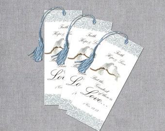 Wedding Bookmark Favors - Wedding Bookmarks - Love Dove Bookmarks - Faith, Hope and Love Bookmarks - Bridal Favors - Set of 50
