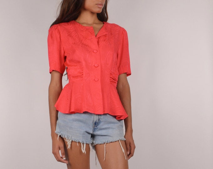SALE Vintage Red SILK Peplum Blouse / S