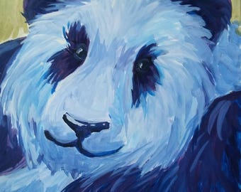 "Purple Panda 12X12"" Painting"