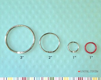 Snap Ring . Mini Washi Tape Ring 3 Inch Book Binder O Rings . Bobbin Ring Silver Bindery Hinges Large Album Planner Floss Storage Scrapbook
