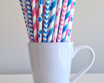 Pink and Blue Paper Straws Gender Reveal Striped, Chevron, Polka Dot Party Supplies Party Decor Bar Cart Cake Pop Sticks Graduation