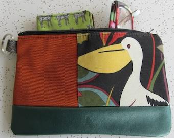 Vegan Leather Clutch - Pelican Handbag - Bird Gift