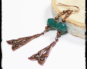 Art Nouveau... Handmade Jewelry Earrings Beaded Glass Antique Copper Metal Dark Teal Green Lightweight Long Boho Artisan
