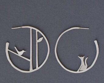 Edge of the woods statement hoop earrings