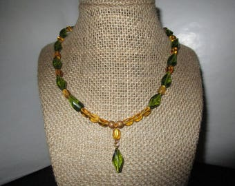 Green / Gold Assorted Beaded Necklace