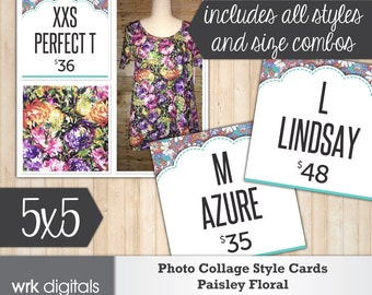 Style Size Price Cards for Photo Collage, Facebook Sales, Style Card, Price Card, Fashion Consultant, Paisley Floral Design