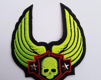 patch fusible skull skull head neon star wings