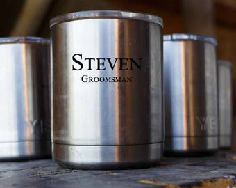 Personalized YETI Rambler Tumbler LOWBALL, 10oz, Stainless Steel - Personalized Groomsmen Gifts, Father's Day, Dad, Corporate Gift