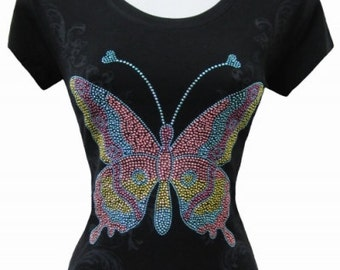 Plus Graphic Shirt, Plus Graphic Tee, Graphic BlingShirt, Butterfly T-Shirt, Butterfly Shirt, Butterfly Bling Shirt,Graphic Butterfly T