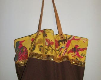 "Brown canvas tote bag ""mole"" and yellow cotton print birds and flowers, leather handles"