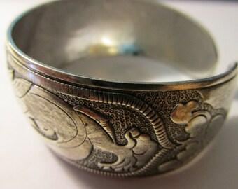 Tibetan Silver Cuff Bracelet with Etched Floral Motifs