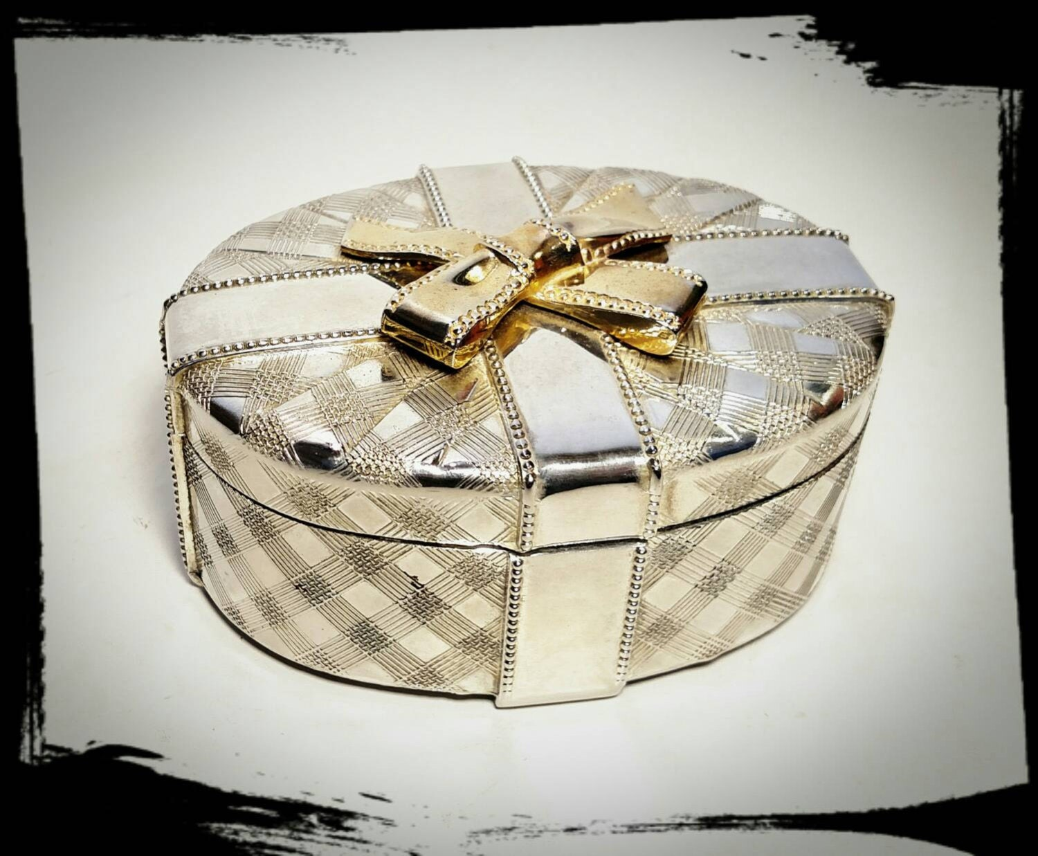 Vintage Godinger Silver Art Co Plated Jewelry Box With Gold Ribbon